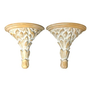 Palm Tree Hollywood Regency Wall Brackets - a Pair For Sale