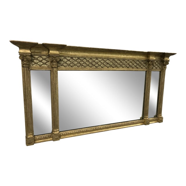 Antique Neoclassical Gilt Mantle Mirror For Sale