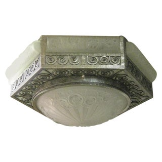 French Art Deco Hexagonal Hammered Iron and Art Glass Flush Mount by Dengue For Sale