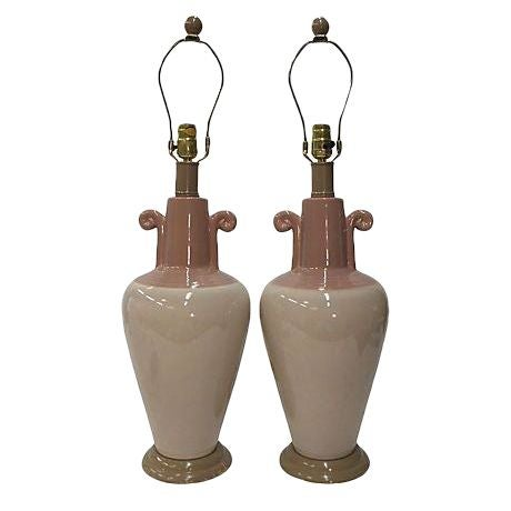 Pink & Blush Swirl Ceramic Lamps - A Pair - Image 1 of 4