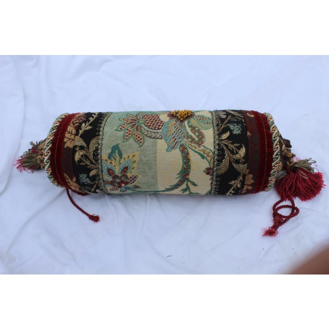Contemporary Multicolored Floral Tapestry Bolster With Tassles and Cords For Sale - Image 9 of 13