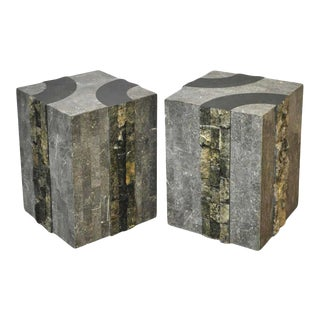 1980s Oggetti Postmodern Graphic Tessellated Marble Cube/Side Tables - a Pair For Sale