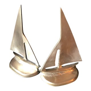 Brass Nautical Sailboat Bookends** - a Pair For Sale