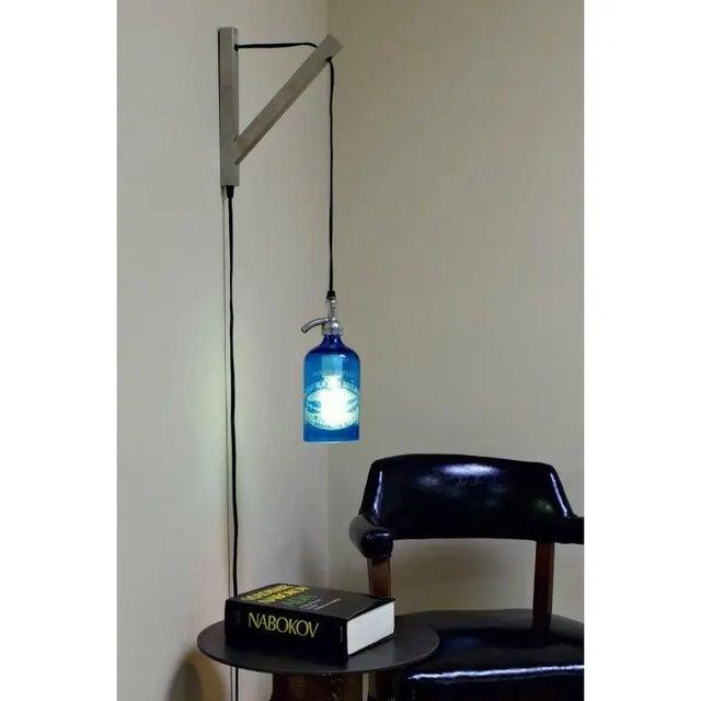 Metal Seltzer Bottle Pendant Light, Clear or Blue Glass For Sale - Image 7 of 8