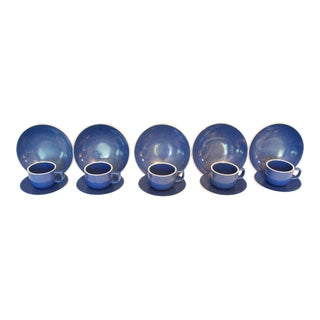 Sasaki Color Stone Sapphire Cups with Saucers & Bowls - Set of 15 For Sale