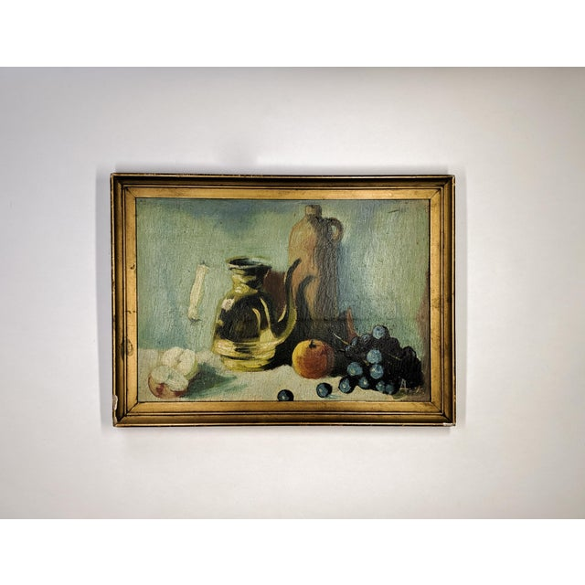 Wood Vintage Oil Still Life Painting With Gold Frame For Sale - Image 7 of 7