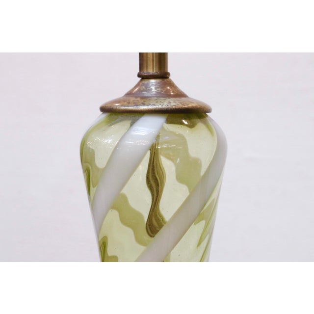Italian Blown Ribbon Glass Lamps, a Pair For Sale - Image 4 of 7