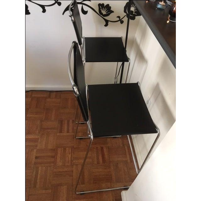 Italian Leather & Chrome Counter Stools - A Pair - Image 4 of 6