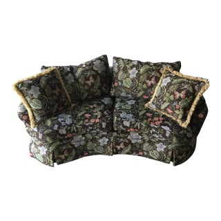 L T Designs for Century Furniture Curved Flowered Loveseat For Sale