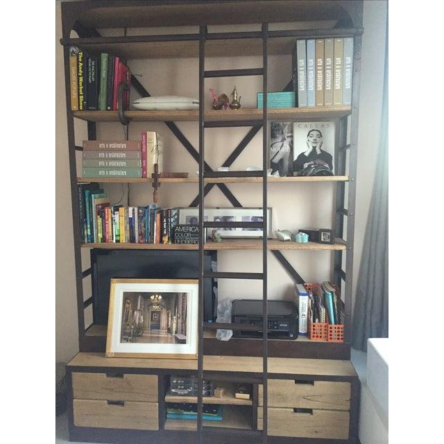 Industrial Restoration Hardware Bookcase & Ladder For Sale - Image 3 of 7