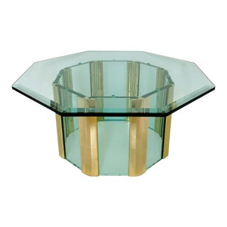 1970s Hollywood Regency Pace Collection Octagonal Glass and Brass Coffee Table For Sale