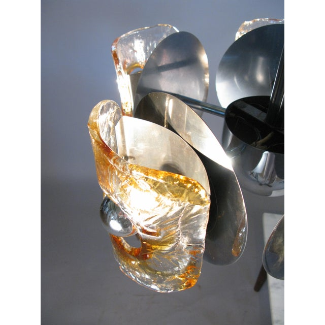1960s Italian Glass & Chrome Murano Chandelier For Sale In New York - Image 6 of 9