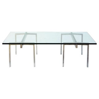 """Contemporary """"Tréteaux"""" Steel and Glass Coffee Table For Sale"""