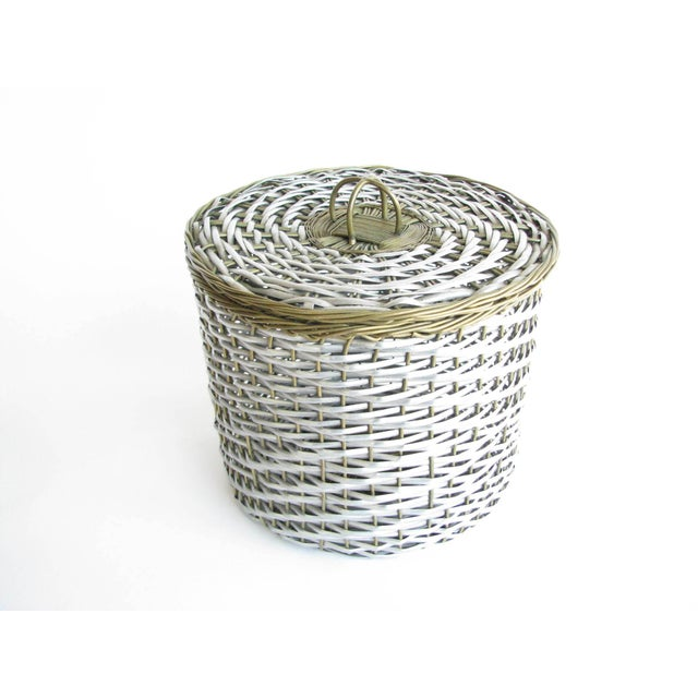 Vintage Woven Two-Tone Metal Wire Lidded Basket For Sale - Image 11 of 11