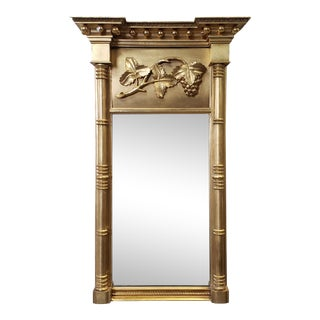 Antique 18th Century American Federal Giltwood Grapevine Hanging Pier Mirror For Sale
