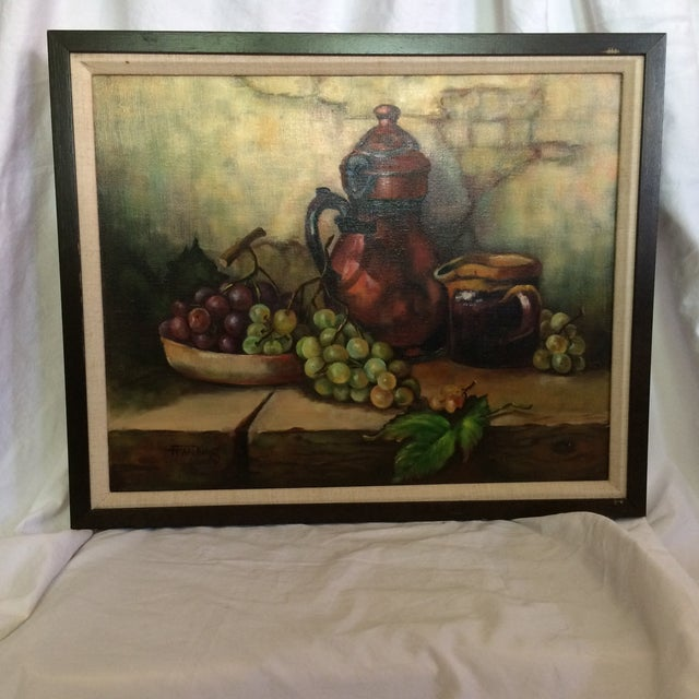 Three Vintage Still Life Oil & Acrylic Framed Paintings by Sacramento Artist Fran King - Group of 3 For Sale - Image 4 of 13
