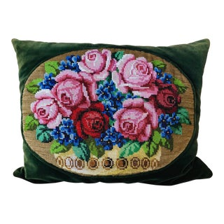1970s Vintage Hand Beaded Velvet Pillow For Sale