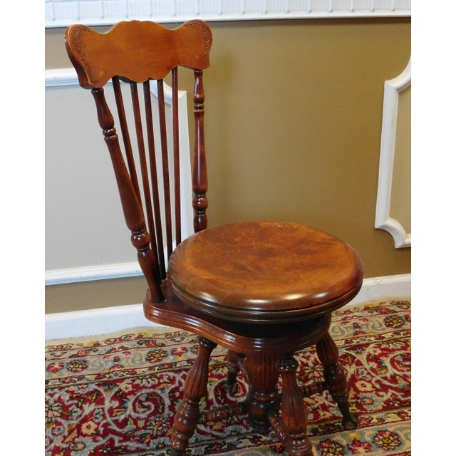 Antique Maple & Walnut Victorian Era Windsor Piano Chair Stool c1900 For  Sale - Image 5 - Antique Maple & Walnut Victorian Era Windsor Piano Chair Stool C1900