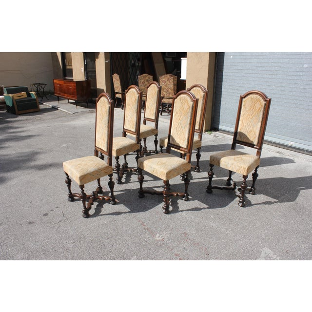 1900s Vintage French Louis XIII Style Dining Chairs - Set of 6 For Sale - Image 4 of 13