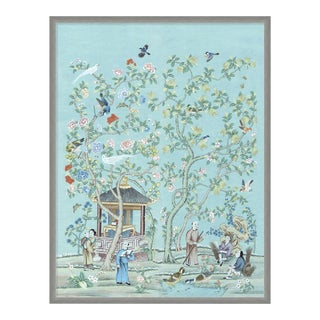 The Tea Garden by Paul Montgomery in Silver Frame, Large Art Print For Sale