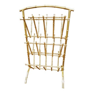 Monumental Gold Gilt Faux Bamboo Metal 3 Tiered Palm Beach Regency Magazine Rack Stand For Sale