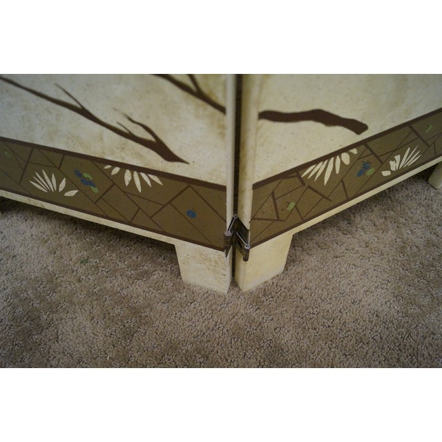 Vintage Chinoiserie Painted Folding Screen - Image 3 of 10