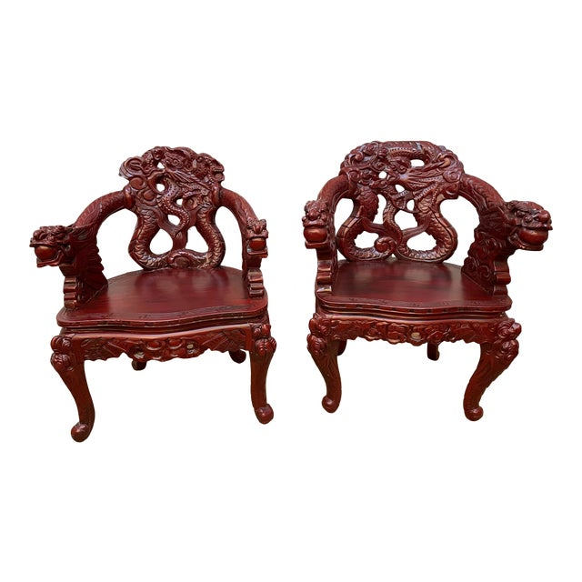 1960s Vintage Red Carved Wood Chinese Dragon Chairs - a Pair For Sale