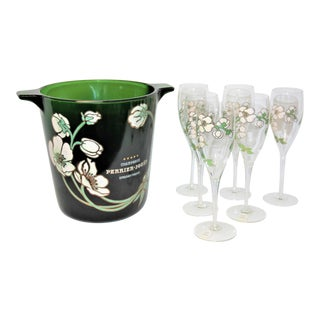 Mid-Century Modern 1960's Perrier Jouet Champagne Bucket and 6 Crystal Flutes For Sale