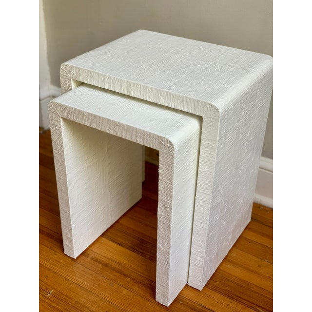 Grasscloth Raffia Nesting Tables - 2 Pieces For Sale - Image 10 of 12