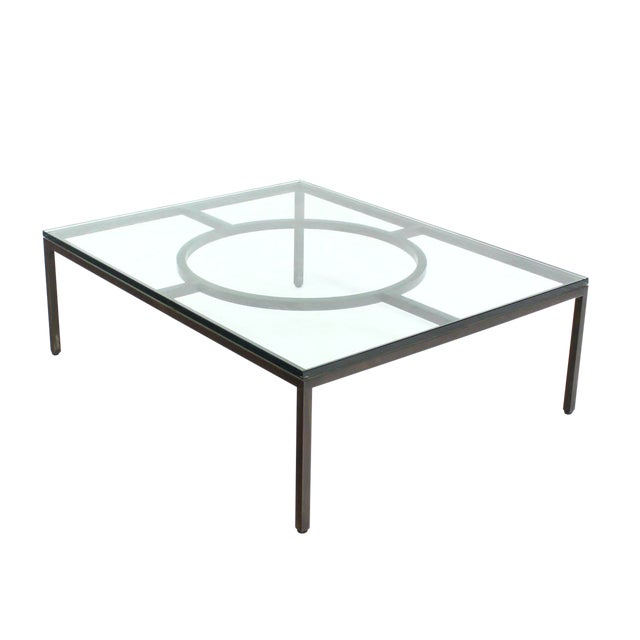 Modern Rectangle Bronzed Frame Coffee Table For Sale