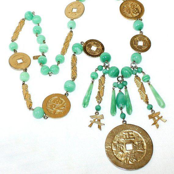 Kenneth Jay Lane Kenneth Lane Asian Motif Necklace - Vintage Necklace - Kjl Necklace - Chinese Design Necklace - Designer Necklace - Gift for Her For Sale - Image 4 of 4