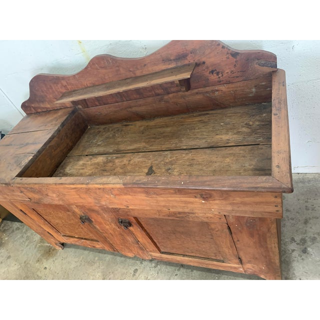 Wood Antique Rustic Farmhouse Dry Sink For Sale - Image 7 of 9