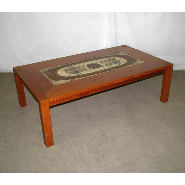 Modern Wooden Coffee Table with Tile Insert For Sale - Image 5 of 10