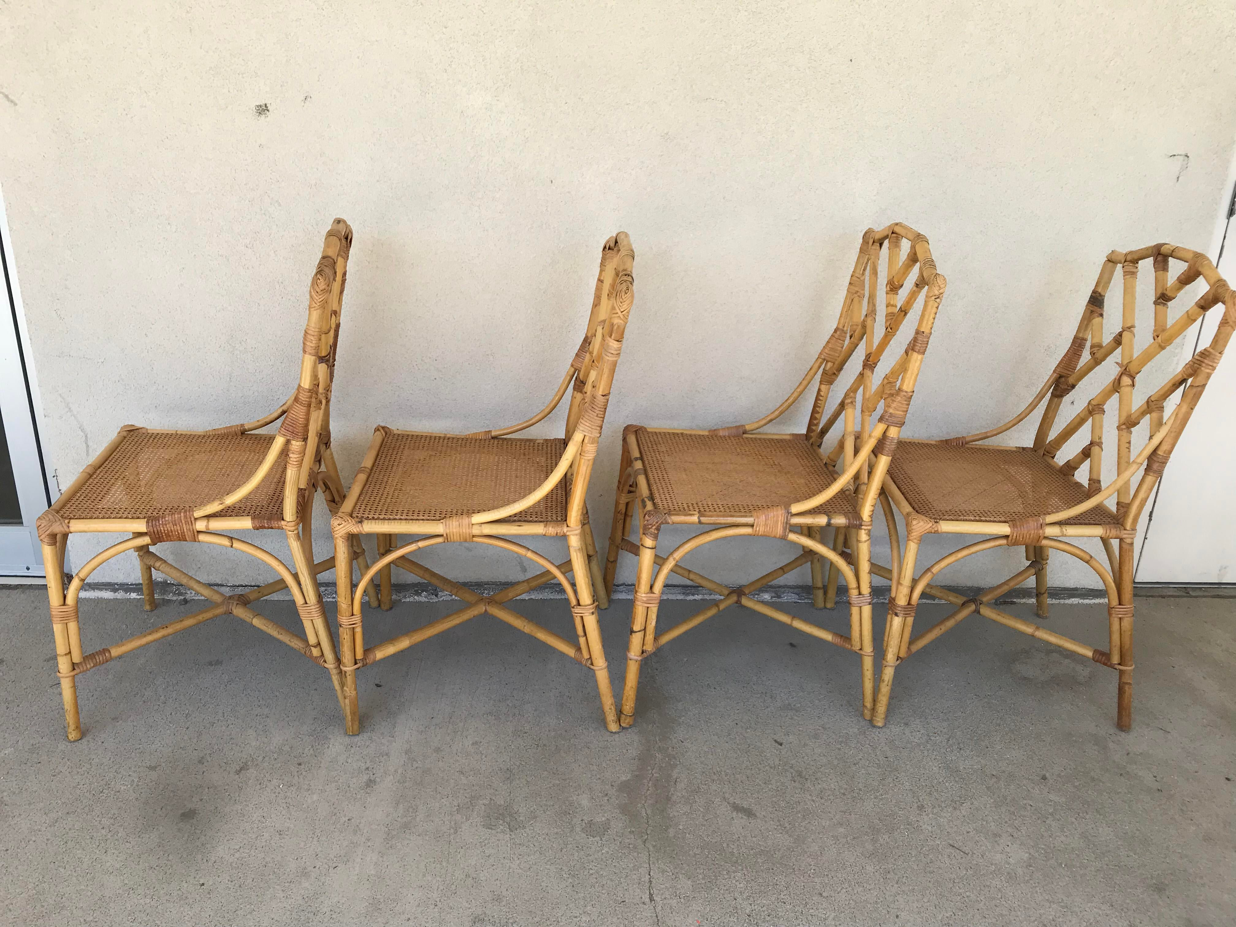 Chinese Chippendale Rattan Dining Chairs   Set Of 6   Image 4 Of 12