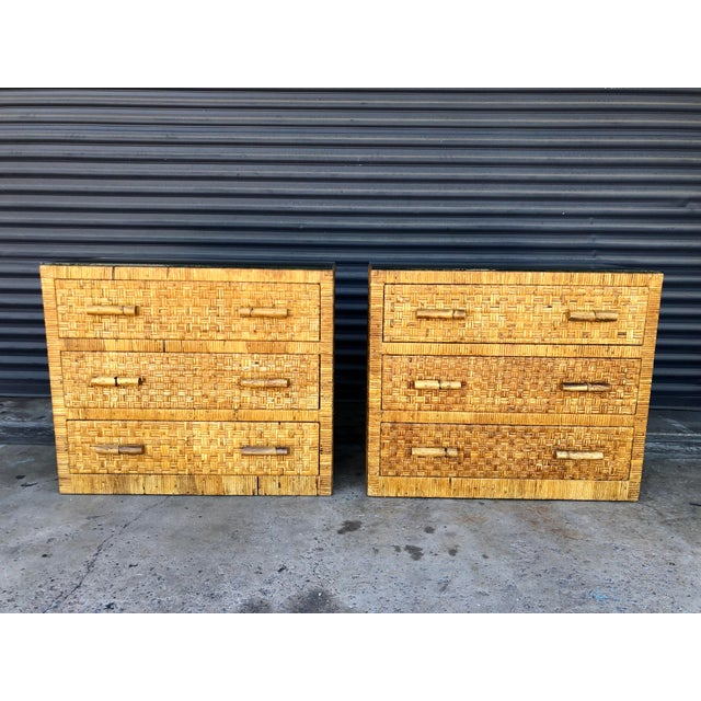 Vintage Woven Wrapped Rattan Chests- a Pair For Sale - Image 13 of 13