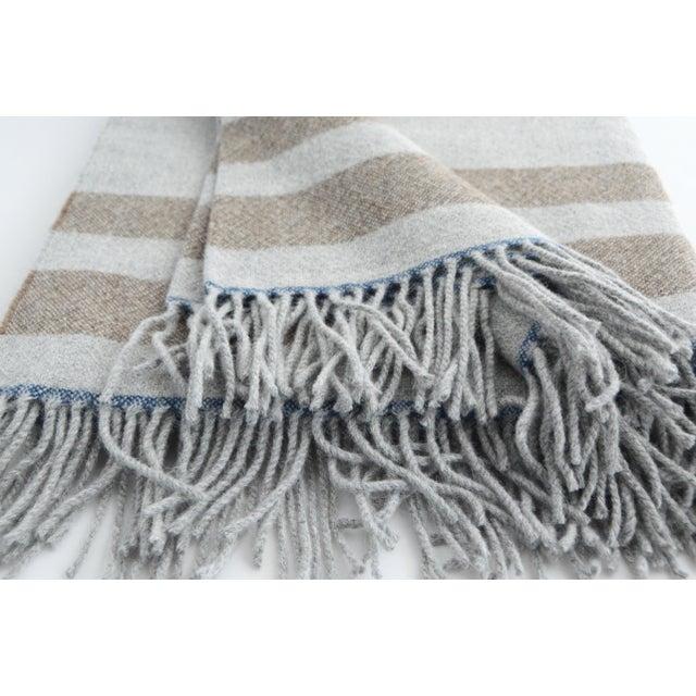 FirmaMenta Italian Blue Beige and Grey Alpaca Throw For Sale - Image 4 of 5