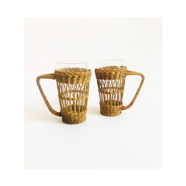 Vintage Tall Glasses in Wicker Holders - Set of 2 For Sale In San Francisco - Image 6 of 6