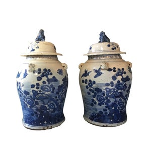 "Lidded B & W Chinoiserie Ginger Jars - a Pair 18"" H For Sale"