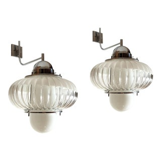 Pair of Large Mid Century Modern Sconces/Lanterns Chrome & Glass, Guzzini Style For Sale