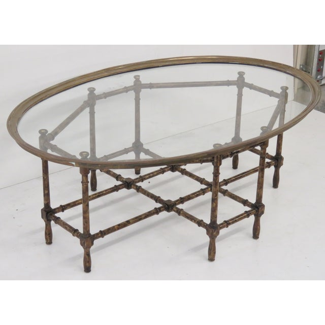 Bronze Tray Top Faux Bamboo Coffee Table - Image 2 of 5