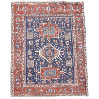 Blue & Red Karaja Rug - 5′1″ × 5′7″ For Sale