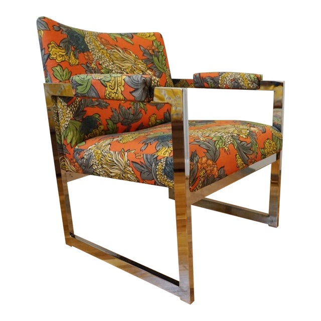 Milo Baughman Style Chrome Chair in Ming Dragon Fabric - Image 1 of 5