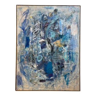 "Abstract Expressionist Mixed Media Painting ""Blue Womb"" For Sale"