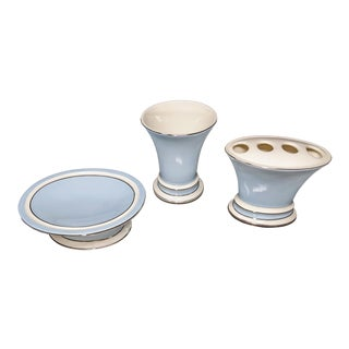 Vintage 1990s Baby Blue, White and Platinum Rimmed Ceramic Bathroom Accessories Set of 3 Pieces For Sale