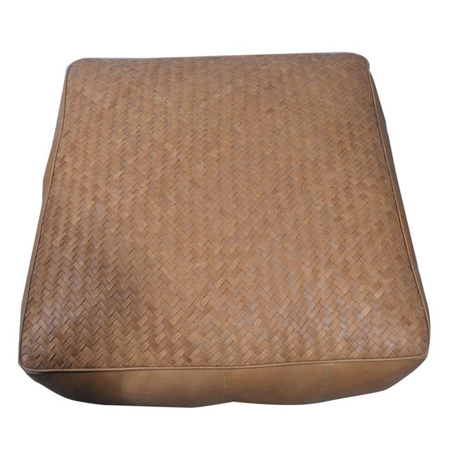 32 inch low square leather upholstered woven floor cushion in natural light brown finish.32 inch square and 14 inch high,...