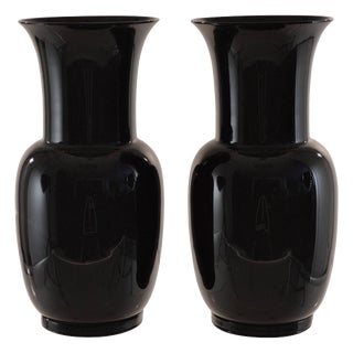 1978 Venini Signed Black Glass Urns - A Pair For Sale