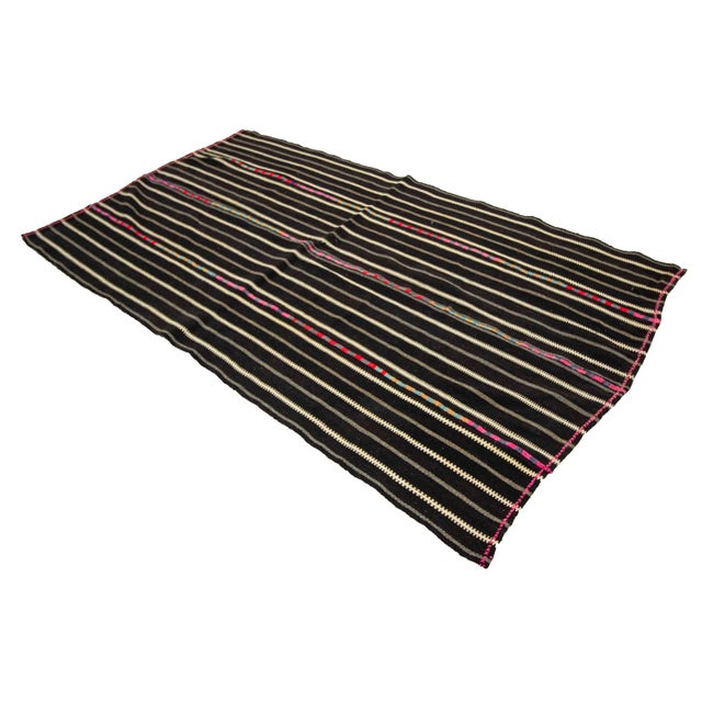 1960s Vintage Striped Black Kilim Rug- 4′9″ × 8′2″ For Sale - Image 4 of 7