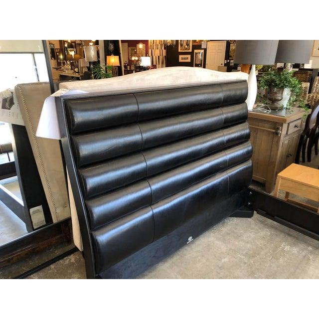 Modern Baker Tashmarine Queen Bed by Jean Lousi Deniot Black Leather and Mink Black Frame For Sale - Image 3 of 7