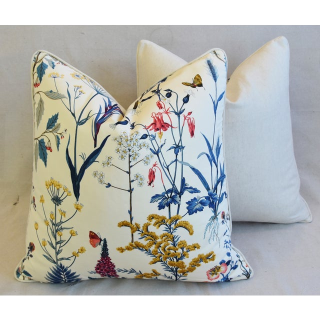 "Floral Wildflower Botanical Cotton & Linen Feather/Down Pillows 24"" Square - Pair For Sale - Image 11 of 13"