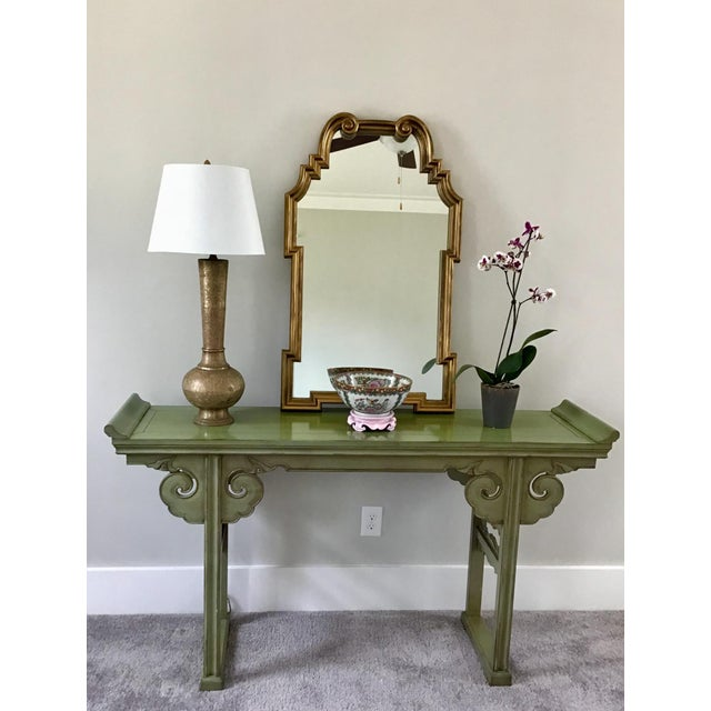 A pretty jade Chinese altar table to grace your space. Would be great in an entry, or as a sofa table.